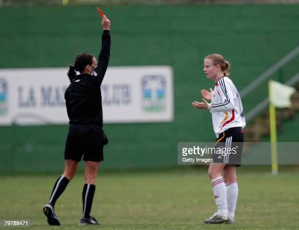 Susanne Hartel of Germany gets the red card during her U23 women's friendly football match between Germany and the US at the La Manga Resort on...