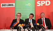 Susanne Hennig head of the Thuringia Die Linke Dieter Lauinger head of the Thuringia German Greens Party and Andreas Bausewein head of the Thuringia...