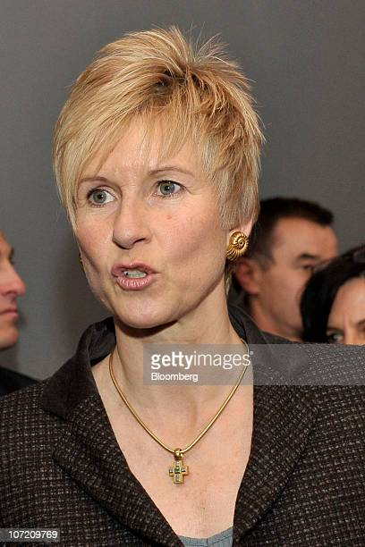 Susanne Klatten a supervisory board member of Bayerische Motoren Werke AG speaks during the company's 50th anniversary event at their headquarters in...