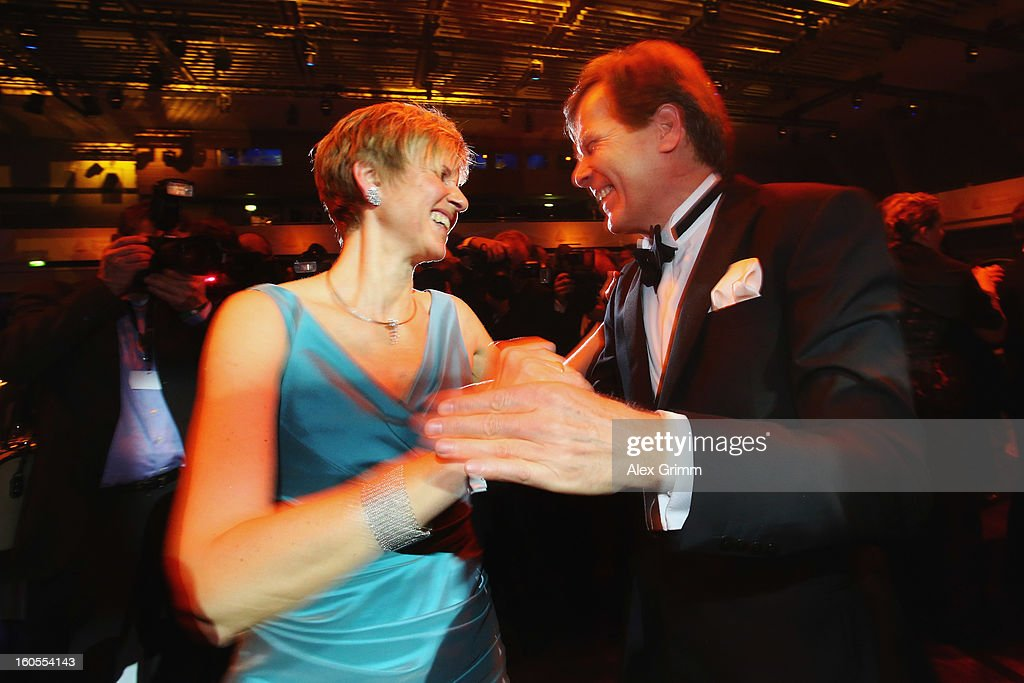 <a gi-track='captionPersonalityLinkClicked' href=/galleries/search?phrase=Susanne+Klatten&family=editorial&specificpeople=5588988 ng-click='$event.stopPropagation()'>Susanne Klatten</a> and her husband Jan Klatten dance during the 'Ball des Sports 2013' at Rhein-Main-Hallen on February 2, 2013 in Wiesbaden, Germany.