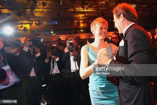 Susanne Klatten and her husband Jan Klatten dance during the 'Ball des Sports 2013' at RheinMainHallen on February 2 2013 in Wiesbaden Germany