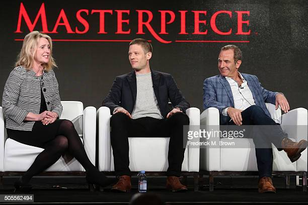 Susanne Simpson senior series producer Masterpiece Theater and actors James Norton and Robson Green speak onstage during Masterpiece's 'Grantchester'...