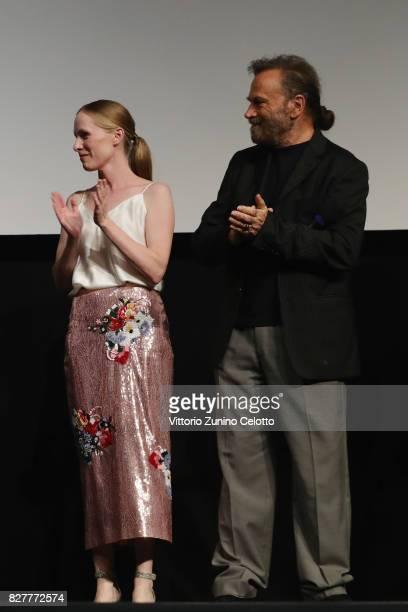 Susanne Wuest and Franco Nero attend 'Iceman' premiere during the 70th Locarno Film Festival on August 8 2017 in Locarno Switzerland