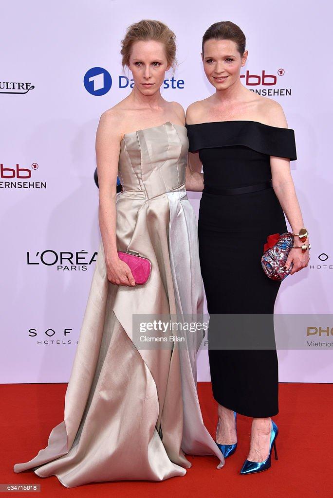 Susanne Wuest (L) and Karoline Herfurth (R) attend the Lola - German Film Award (Deutscher Filmpreis) on May 27, 2016 in Berlin, Germany.