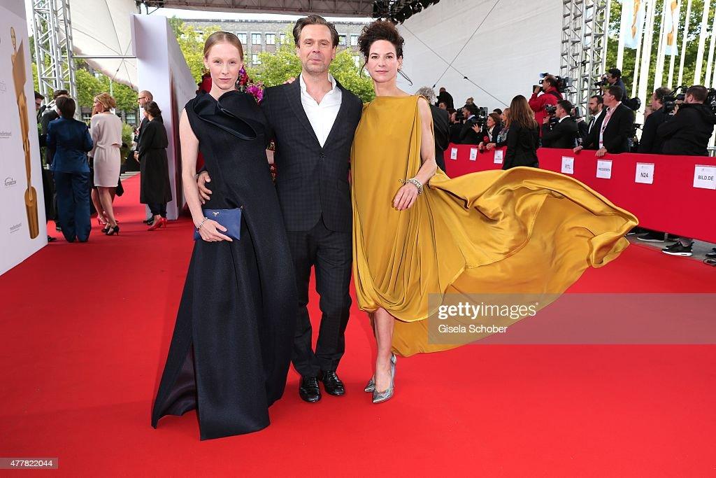Susanne Wuest, Matthias Matschke and Bibiana Beglau arrive for the German Film Award 2015 Lola (Deutscher Filmpreis) at Messe Berlin on June 19, 2015 in Berlin, Germany.