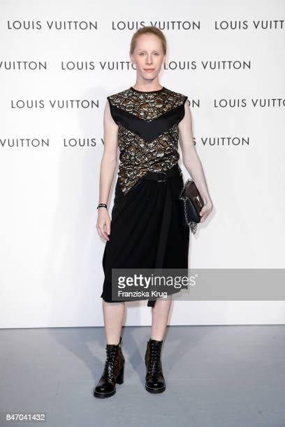 Susanne Wuest wearing Louis Vuitton attends the 'Louis Vuitton Time Capsule' Exhibition Opening at Franzoesisches Palais on September 14 2017 in...