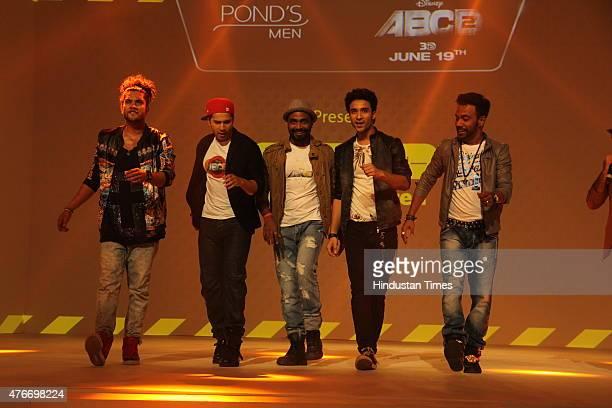 Sushant Pujari Varun Dhawan Remo DSouza DSo Raghav Juyal and Dharmesh Yelande at the event on June 9 2015 in Mumbai India