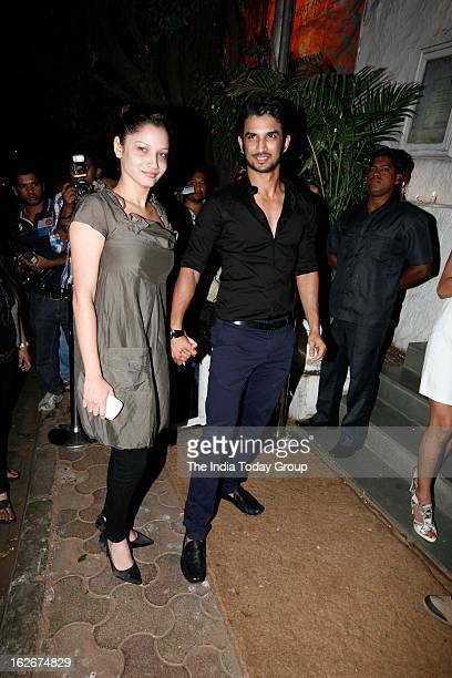 Sushant Singh and Ankita Lokhande at Sanjay Leela Bhansali's birthday bash held at Olive in Mumbai on February 24 2013