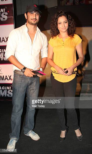 Sushant Singh and Ankita Lokhande at the premiere of the movie 'Ragini MMS' at Cinemax Mumbai on May 12 2011
