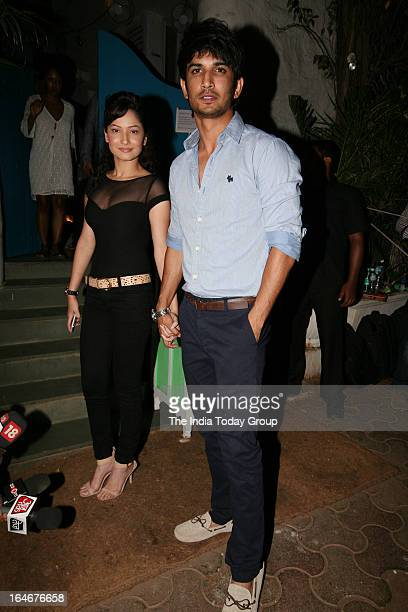 Sushant Singh Rajput and Ankita Lokhande at a party thrown by Nikhil Advani to celebrate his film Delhi Safari winning the National Award for the...