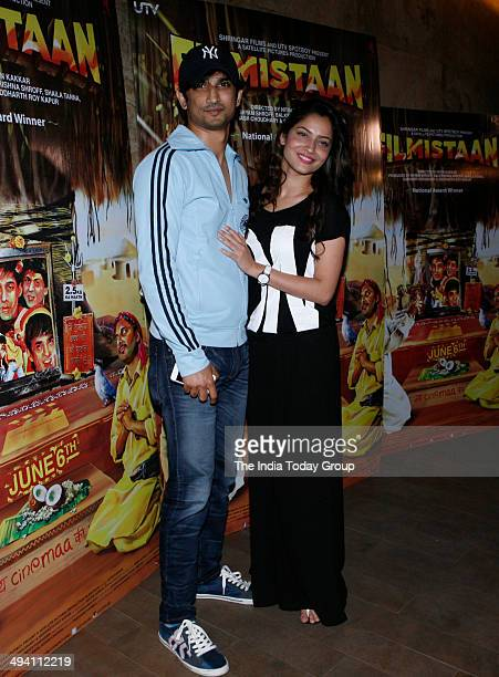 Sushant Singh Rajput and Ankita Lokhande at the special screening of the movie Filmistan in Mumbai