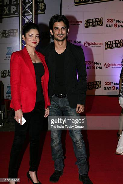Sushant Singh Rajput and Ankita Lokhande during the success bash of Chennai Express in Mumbai