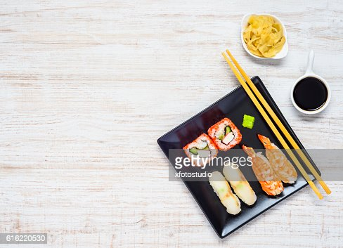 Sushi Black Plate with Soy Sauce and Ginger Copy Space : Foto stock