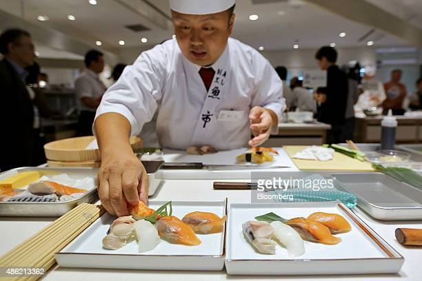 A sushi chef prepares to make a sushi dish during the Global Sushi Challenge competition 2015 in Tokyo Japan on Wednesday Sept 2 2015 The highest...