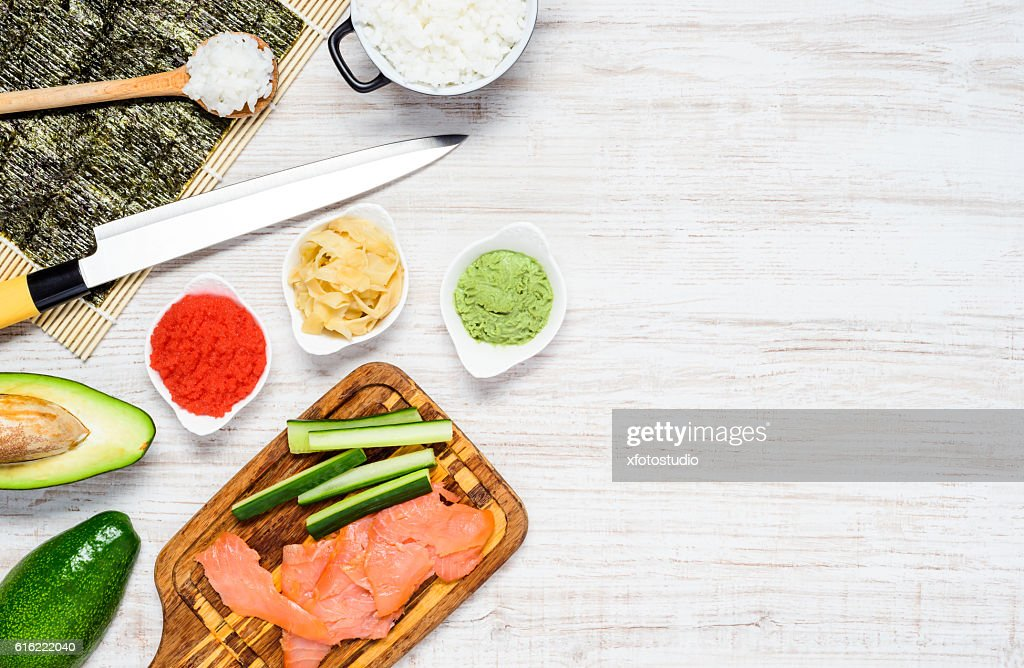 Sushi Cooking Ingredients with Copy Space : Stockfoto