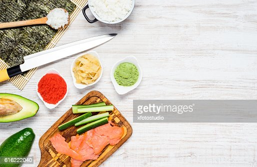 Sushi Cooking Ingredients with Copy Space : Foto stock