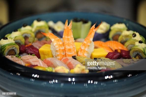 Sushi dishes made by Sushi Chef are seen during the World Sushi Cup Japan 2016 on August 19 in Tokyo Japan Sushi chefs from differents countries...