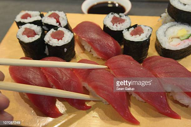 Sushi from yellowfin or maguro tuna lies on a customer's plate at a sushi restaurant on November 23 2010 in Berlin Germany Yellowfin tuna is mostly...