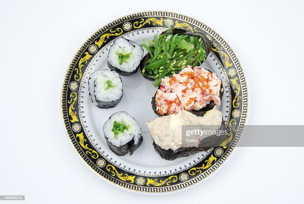 Sushi is popular japanese dish. : Bildbanksbilder