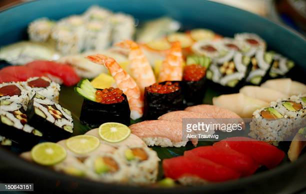 Sushi is seen on a platter during a food tasting prior to the start of the 2012 US Open at the USTA Billie Jean King National Tennis Center on August...