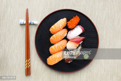 Sushi meal top view : Stock Photo