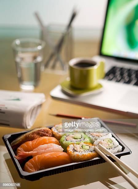 Sushi on a desk