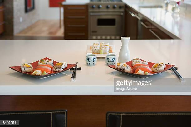 Sushi on kitchen counter