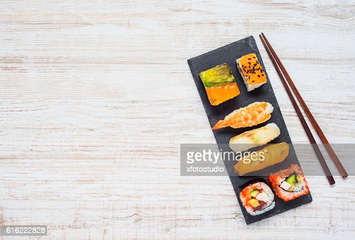 Sushi on Plate with Chopsticks and Copy Space Area : Stock Photo