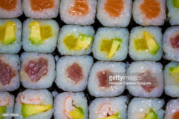 Sushi plate tasty and colorful japanese food