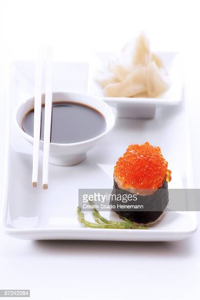 Sushi platter, Gunkan maki with salmon caviar