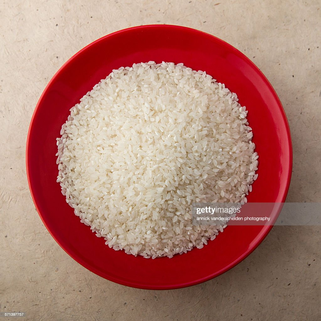 Sushi rice in red bowl