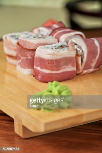 Sushi roll with bacon : Stock Photo