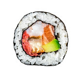 Sushi roll with salmon, shrimps and avocado over white background