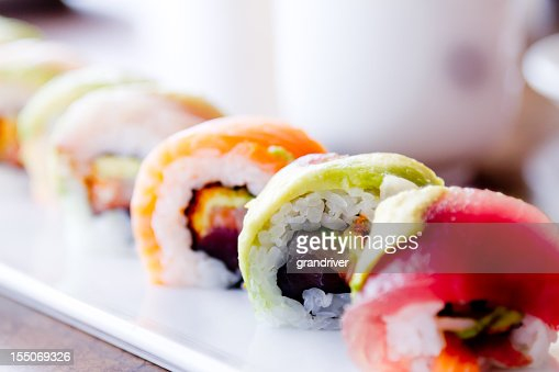 Sushi Rolls and green tea