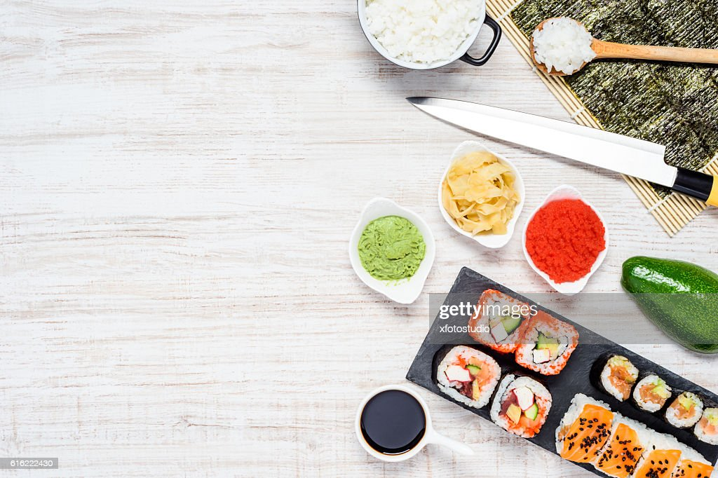 Sushi Rolls with Nori and Copy Space : Stockfoto