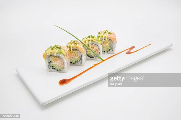 Sushi Rolls with Salmon and Avocado