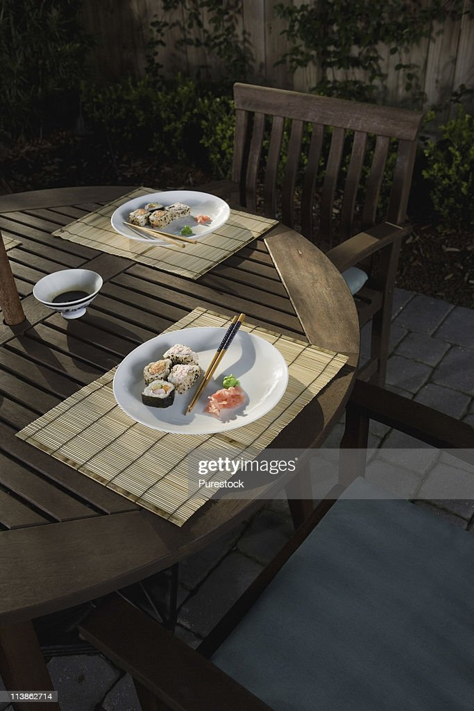Sushi served with chopsticks : Stock Photo