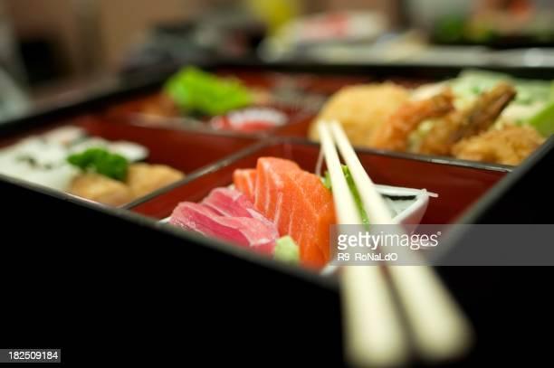 弁当箱寿司の天ぷら、日本の食に岸周辺
