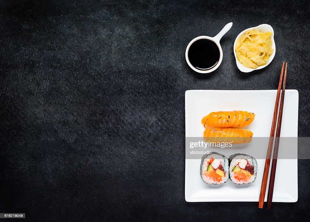 Sushi with Gari and Soy Sauce on Copy Space Area : Stock Photo