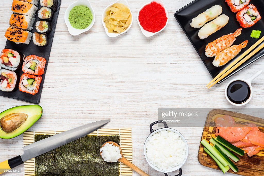 Sushi with Ingredients and Copy Space Frame : Photo