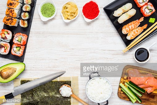 Sushi with Ingredients and Copy Space Frame : Stock Photo