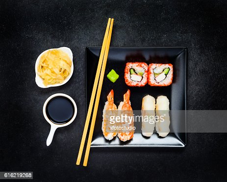 Sushi with Nigiri and Soy Sauce with Ginger : Stock Photo