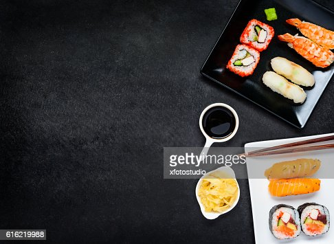Sushi with Sashimi and Soy Sauce on Copy Space Area : Stock Photo