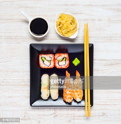 Sushi with Soy Sauce and Ginger : Stock Photo