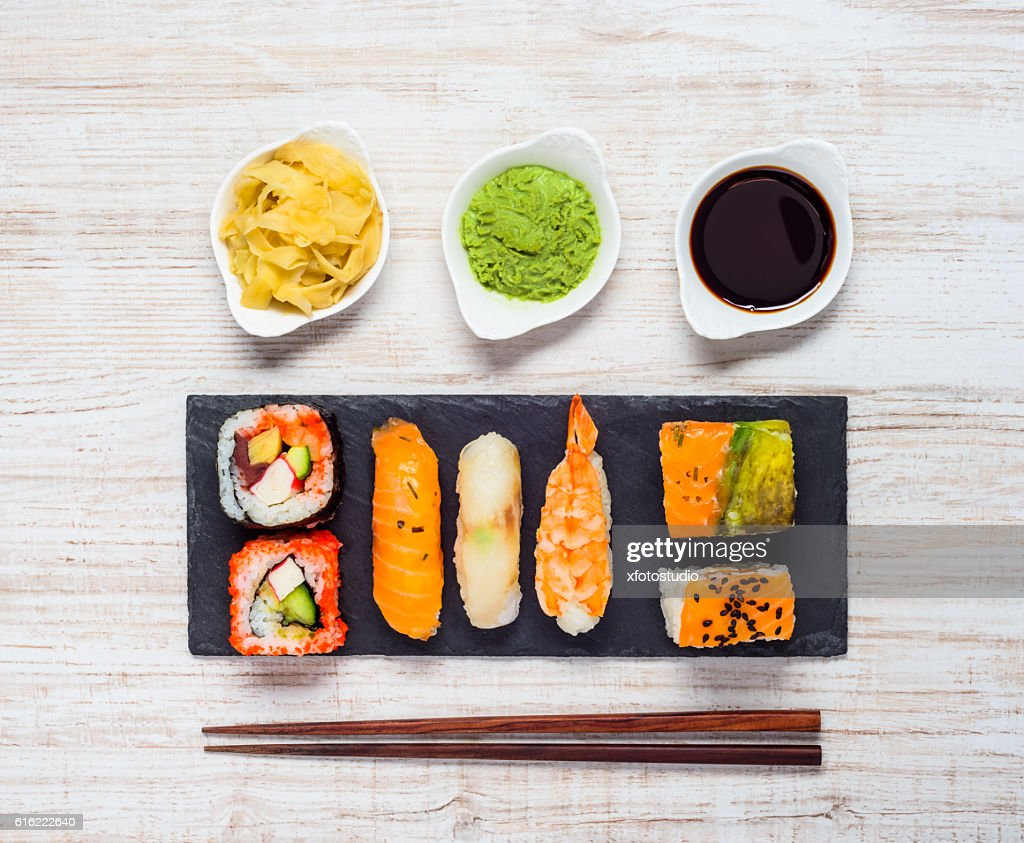 Sushi with Wasabi and Ginger : Stock-Foto