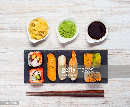 Sushi with Wasabi and Ginger : Stockfoto