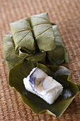Sushi wrapped in leaves