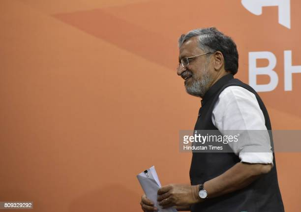 Sushil Kumar Modi BJP opposition leader in Bihar briefs the media personnel at Delhi BJP Headquarters on July 5 2017 in New Delhi India