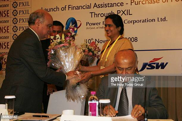 Sushil Kumar Shinde Union Cabinet Minister of Power inaugurates the Power Exchange India Limited along with Ravi Narain CEO and Managing Director of...