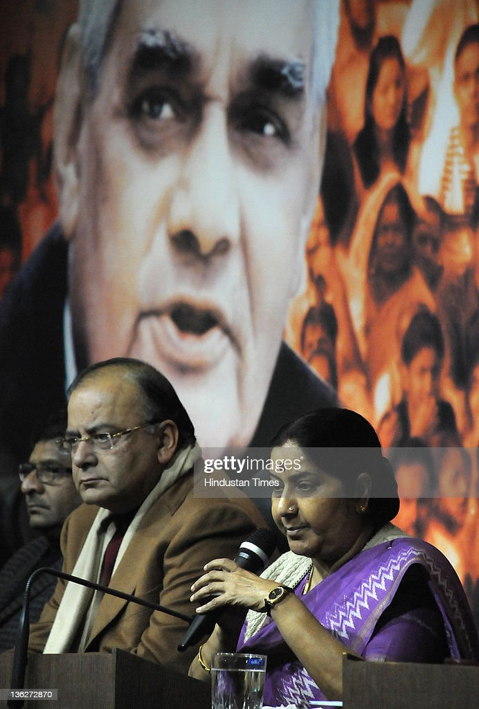 Sushma Swaraj, leader of opposition in Lok Sabha and Arun Jaitley, leader of opposition in Rajya Sabha attend a Press Confrence at BJP Headquarter on December 30, 2011 in New Delhi, India. The BJP leaders said that government has lost its moral authority as it ran away from the voting on Lokpal in Rajya Sabha. The Rajya Sabha was adjourned sine die late on December 29, 2011 after a night of drama in the Upper House which ended without vote on the Lokpal Bill. The legislation to appoint an anticorruption watchdog was deferred at least till the next parliamentary session, amid criticism of the decision from an angry opposition.